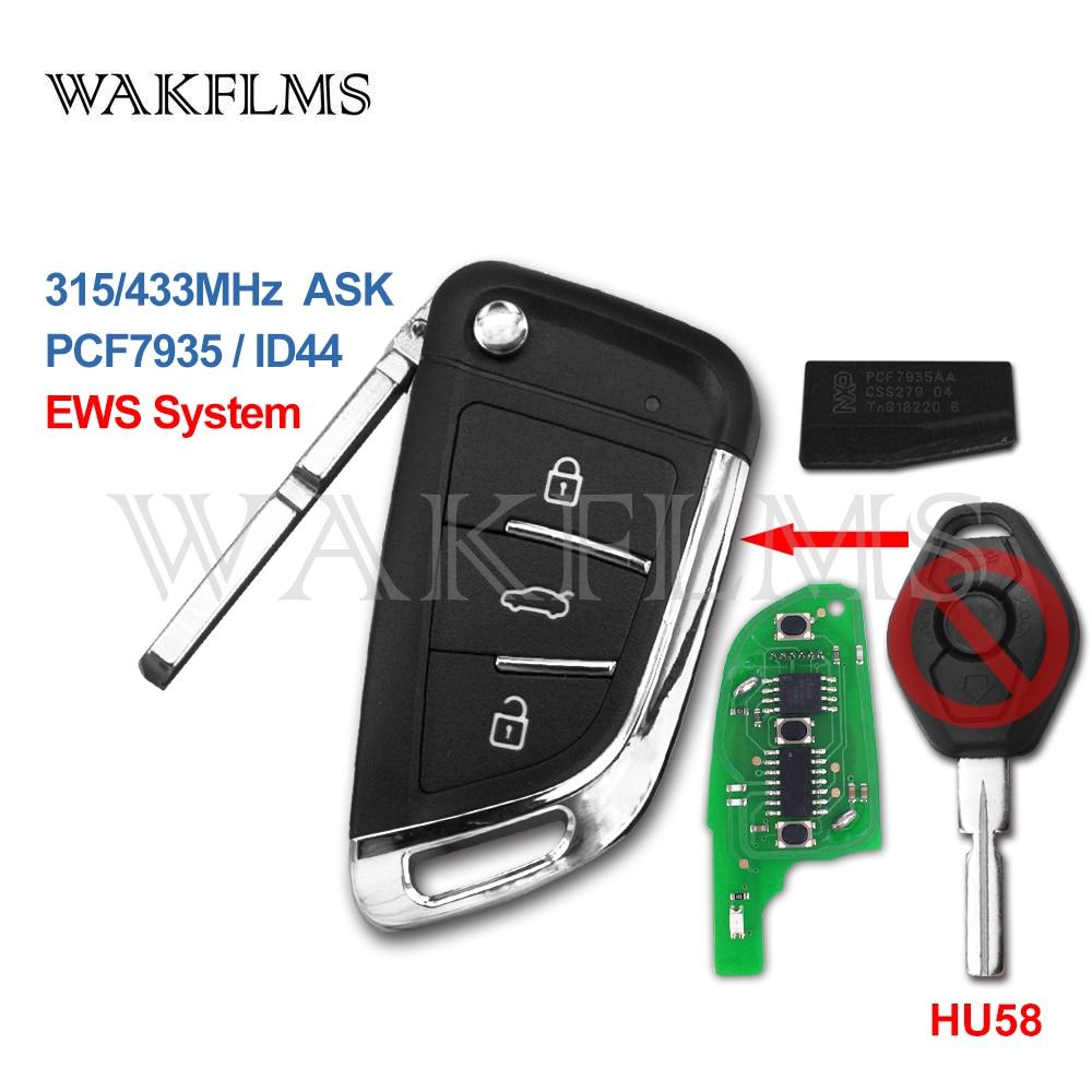 Upgrade Flip Remote Key Fob 433MHz ID44 for BMW EWS 1998-2009 HU58 LX8 FZV