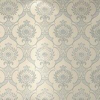 Classic Grey Damask Velvet Flocking Wallpaper Rolls Sound Absorbing Bedding Room
