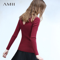 Amii Minimalist Women 2019 Autumn Sweater Chic Back Hollow High Quality Original Design Female Pullovers Sweaters