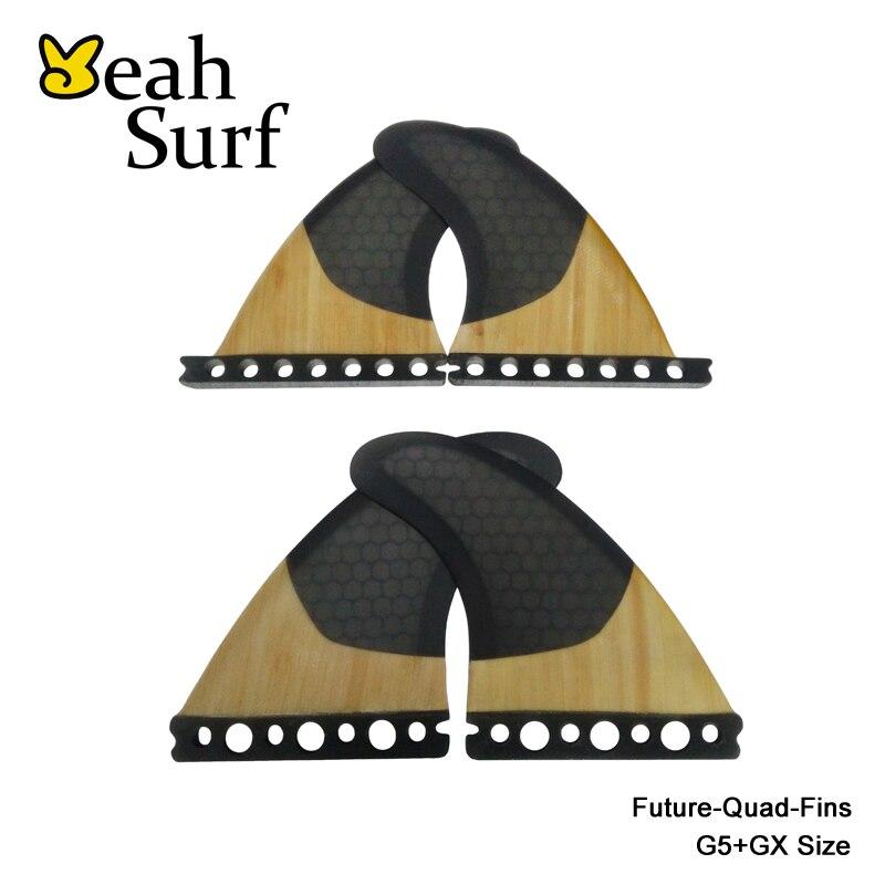 High Quality FCS/Future G5+GX Surfboard Fins Black Honeycomb/Bamboo Quad Fin Quilhas цена 2016