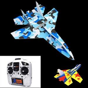 Image 4 - Sabit kanat modeli Su27 RC uçak ile Microzone MC6C verici alıcı ve yapı parçaları DIY RC uçak