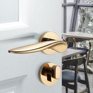 Image 5 - Goud Deurgrepen voor Interieur Deurslot Set Mechanische Lock voor Slaapkamer 8037Y