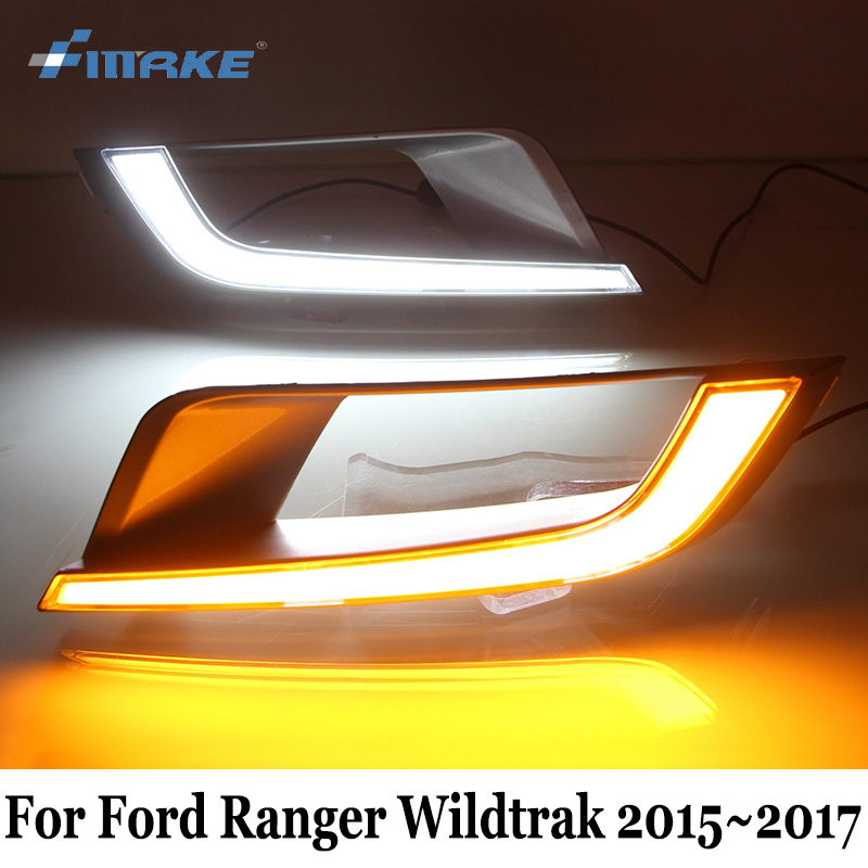 SMRKE DRL For Ford Ranger Wildtrak 2015~2017 / Car LED Daytime Running Lights & Yellow Turn Signal / Car Styling Fog Lamp Frame 2x led daytime running lights daylight turn signal drl lamp car styling light for ford ranger px mk2 2015 2016 2017 2018