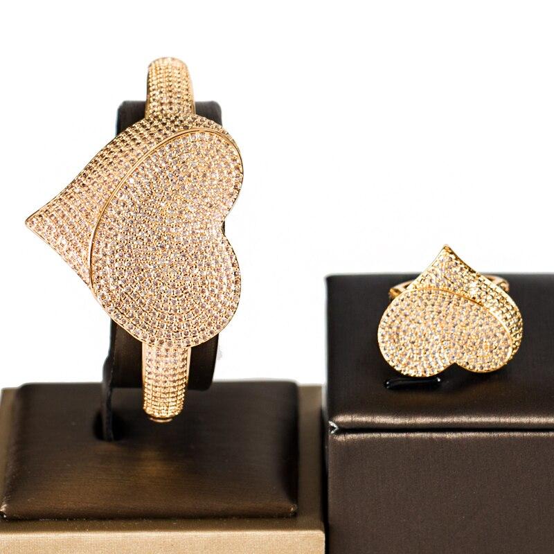 LAN PALACE luxury love design cubic zirconia dubai jewelry set for women beautiful gifts bangle and ring set free shipping