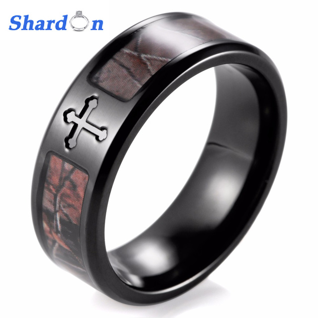 Shardon Men S Black Simply Cross Camo Ring Anium Outdoor Camouflage Anniversary Band Wedding For
