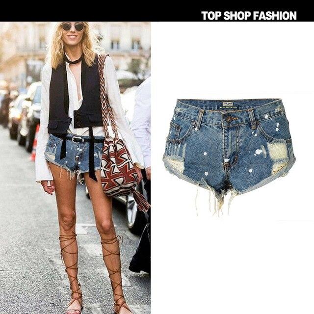 d1a9ebeeb4fe Novo personagem de pontos tinta irregular Hippie em desgastado após a  lavagem fazer velho saco cintura Bermuda shorts jeans