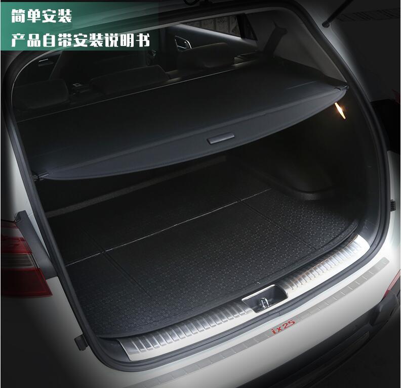 JIOYNG Car Rear Trunk Security Shield Shade Cargo Cover For HYUNDAI Creta ix25 2014 2015 2016 2017 2018 (Black, beige) коврики в салонные ниши синие ix25 для hyundai creta 2016