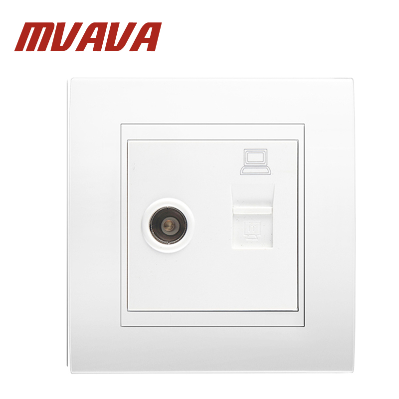 цены MVAVA Computer And Television Wall Socket Electric RJ45 Network + TV Aerial Socket Wall Mount Coaxial Outlet Plug Free Shipping