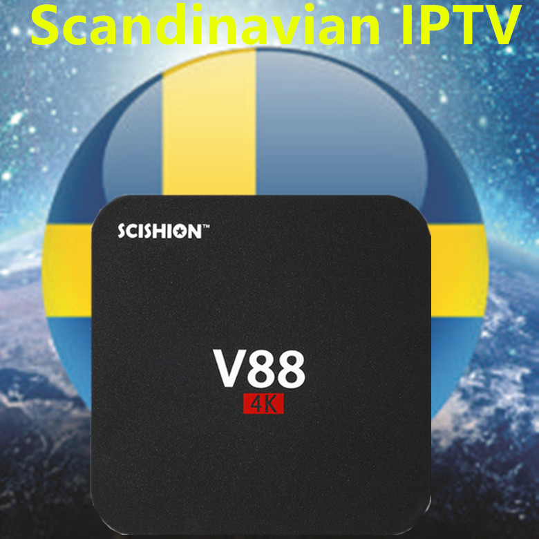 V88 Android TV Box IPTV BOX With 1 Year Europe/Sweden/French/Germany/Italy/Spain/Portugal/XXX 4000+ Scandinavian channels недорого