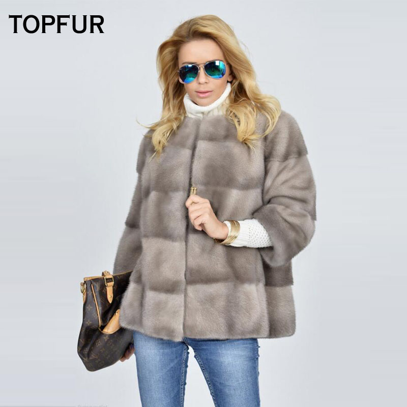 TOPFUR 2018 Luxury Genuine Leather Mink Fur Coats For Young Girlfriend Popular Fashion Loose Real Fur Jackets Soft Fur Outwear Price $1,154.00