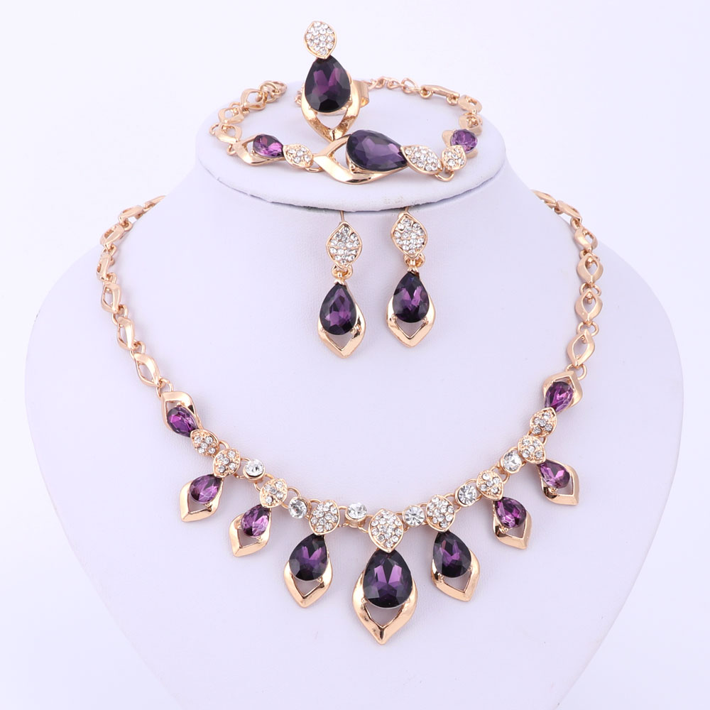 ccbfd11bf Fashion Black/Red/Purple Crystal African Costume Jewelry Set For Women Gold  Color Wedding Necklace Earrings Bracelet Ring Set-in Bridal Jewelry Sets  from ...