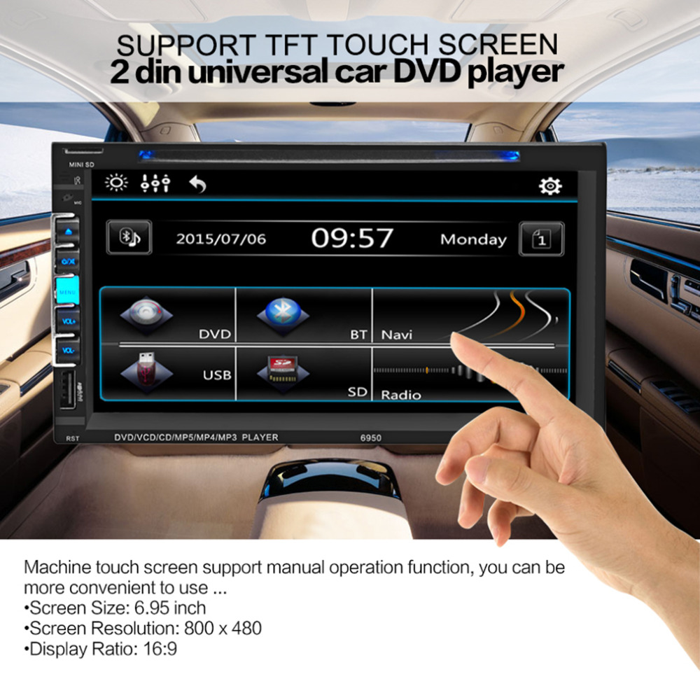 Auto 2 Din Universial Car Mp5 Player HD 6.95 Inch Digital Touch Screen USB Mp3 Bluetooth Hands Free Call Radio Mp5 Player Hot 9 inch car headrest dvd player pillow universal digital screen zipper car monitor usb fm tv game ir remote free two headphones