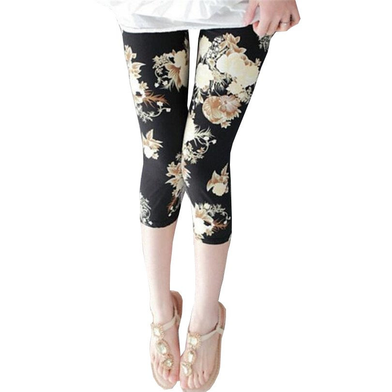 CUHAKCI High Waist Sexy Leggings Women Calf-Length Print Pants Women Capris Pantalones Soft Short Pants Women Summer Leggings