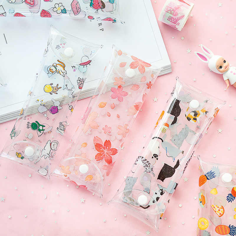 Cute transparent pencil bag Fruit Strawberry Cat Penguin flower pen case storage pouch Stationery Office school supplies FB079