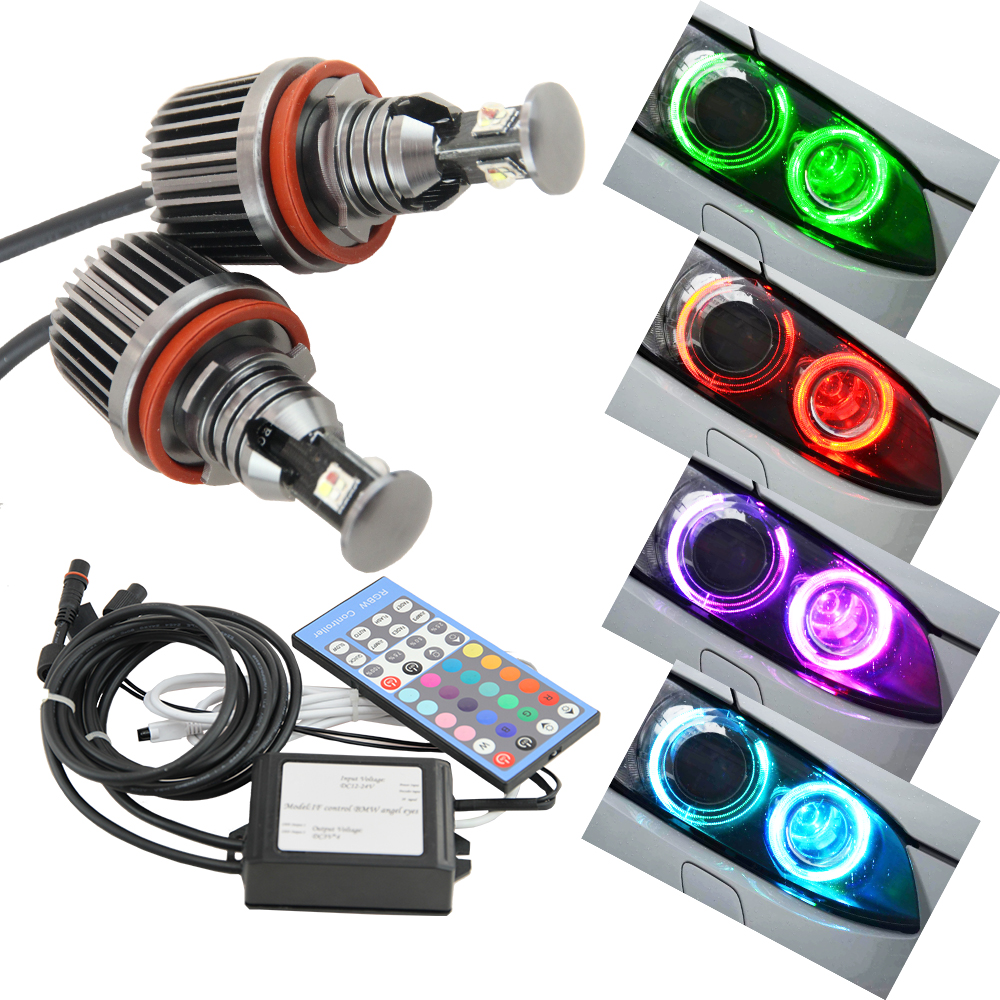 H8 RGB LED Marker Angel Eyes Light Ring Falshing Remote ConrtrolBulb for BMW 1 3 5 X Series 2x free shipping 1 set 2x 120mm 2x 128 mm f30 f35 crystal led angel eyes for bmw