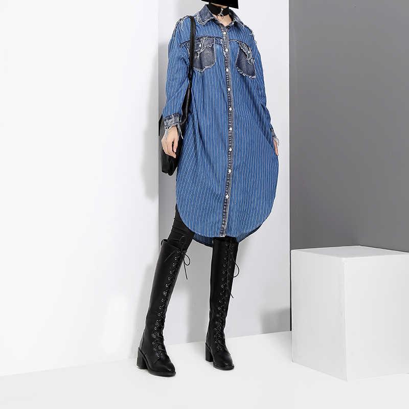 Женское джинсовое платье-рубашка, голубое повседневное платье большого размера в полоску с карманом, длинными рукавами и бахромой, модель 2944 на осень и зиму, 2018
