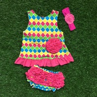 Baby Little Girls Boutique Clothing Swing Sets Infant Girl Clothes Baby Colorful Checks Aztec Swing Tops