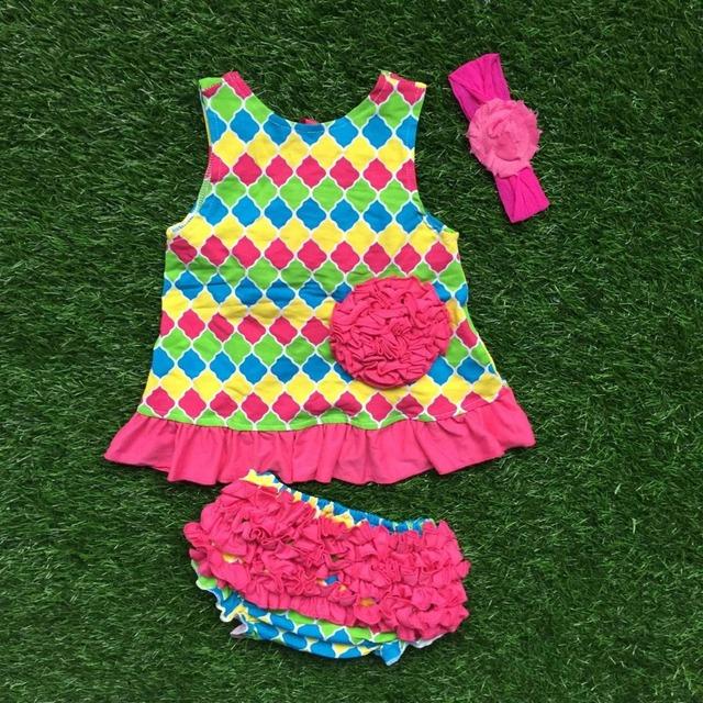 Bebé niñas boutique de ropa columpios muchacha infantil ropa bebé cheques de colores azteca tapas batientes con el arco