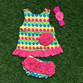baby little girls boutique clothing swing sets infant girl clothes baby colorful checks aztec  swing tops  with bow