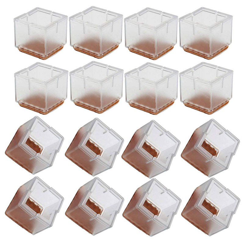16Pcs/Set Square Bottom Silicone Wood Floor Protect Chair Leg Caps Furniture Feet Pads Table Covers Anti-slip Prevent Scratches