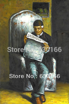 Artist's Father Reading by Paul Cezanne Vintage Oil Painting Portrait Hand Painted 100% Vertical