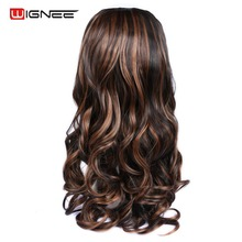купить Wignee U Part 7 Clips In Body Wave Hair Extension Half Wig For Women High Temperature Synthetic Wig Cosplay Wavy Hairstyles дешево