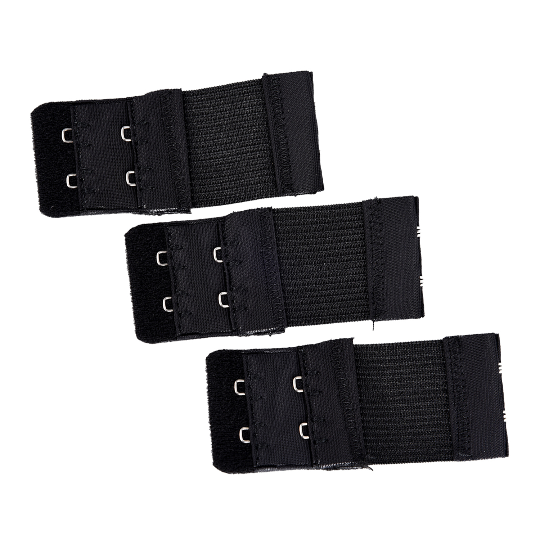 3pcs Woman 2 x 2 Hook and Eye Tape Elastic Extension Bra Extender Black