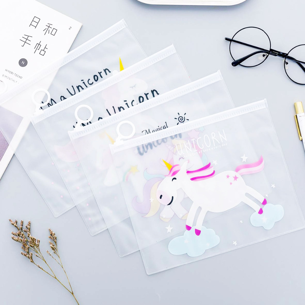 Intellective Xrhyy Girl Transparent Bag Makeup Cartoon Smill Unicorn Alpaca Clear Pvc Cosmetic Bag Pencil Case Pouch Ladies Storage Professional Design Stationery Holder Desk Accessories & Organizer