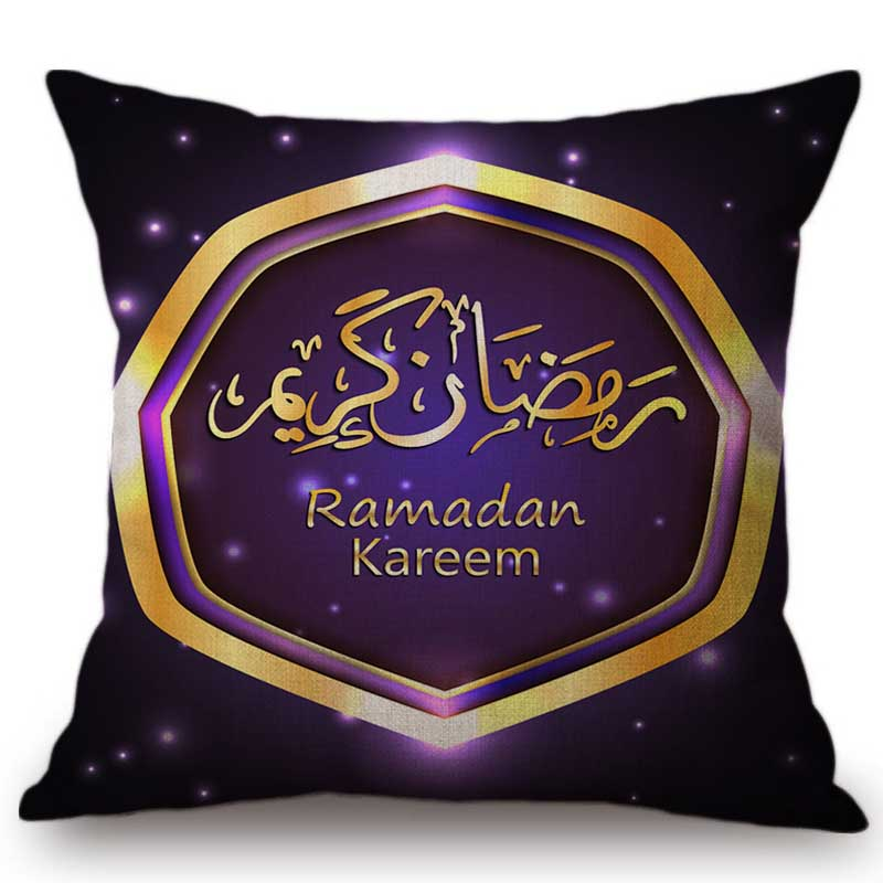 2018 Ramadan Decorations Islamic Eid Mubarak Kareem Home Decor Sofa Throw Pillow Cases Muslim Mosque Lantern Linen Cushion Cover