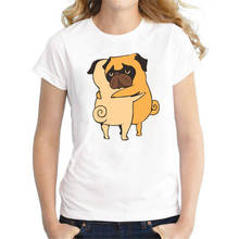 Logo T Shirts WomenS Print Short O-Neck  Arrival Two Pugs Hugs Tee