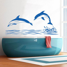 Bathroom Decoration  Dolphin Jumping Design Wall Sticker Aquatic Creatures Poster Mural Beauty Decals W373