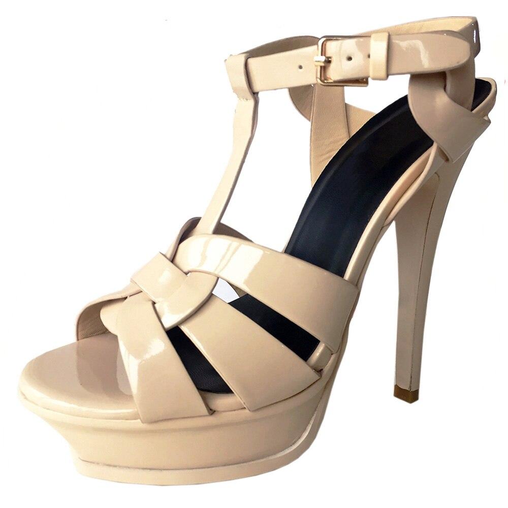 f46b4f4ee FizaiZifai frete grátis qualidade genuína sapatos de couro sandálias de  salto alto mulheres sexy calçados de moda senhora R4425 hot sale 33 40 em  Sandálias ...