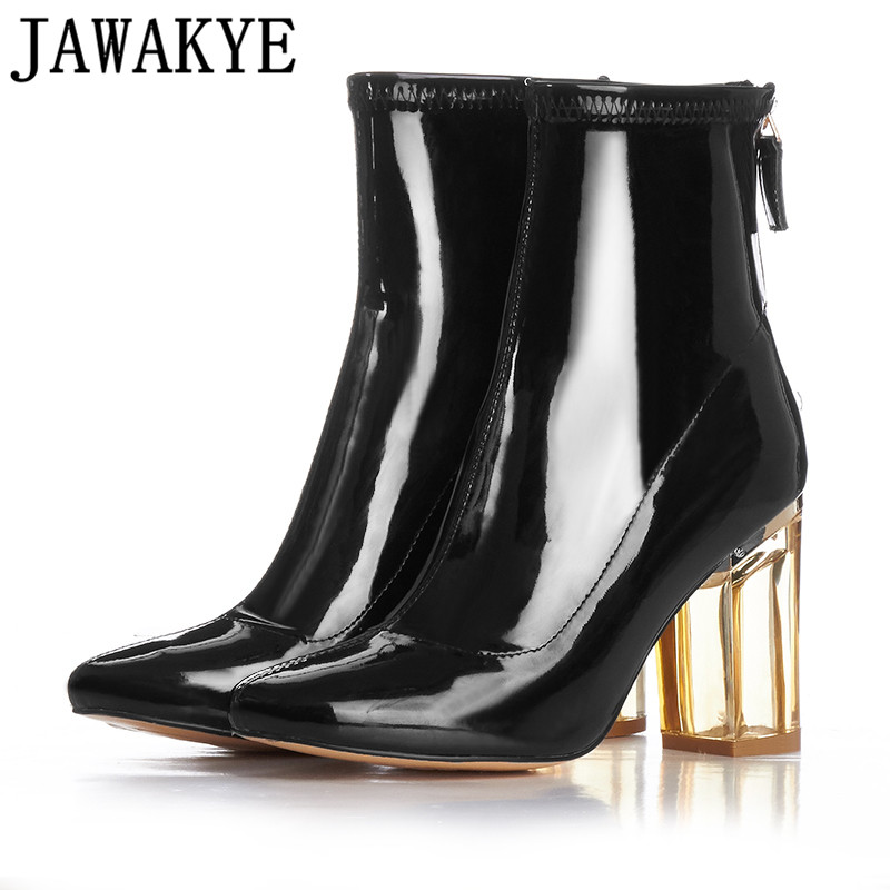 10618f7aed3 Fall Winter rain boots women clear transparent high heels ankle boots for  women fetish boots girls