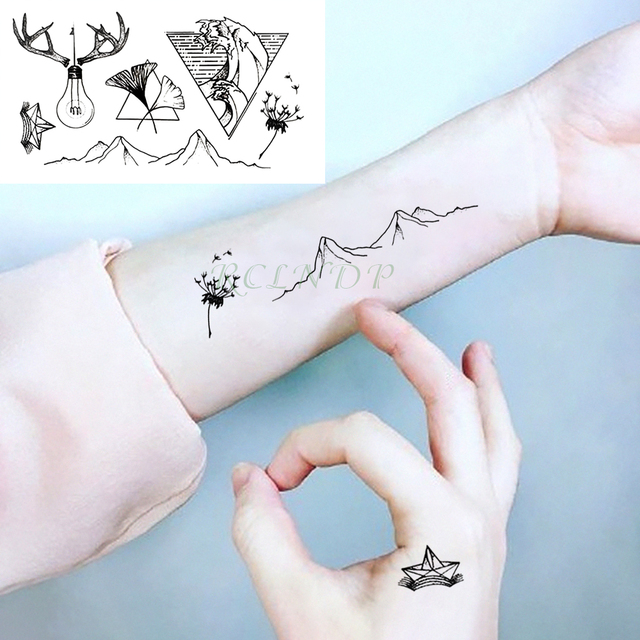 8266b51b7 Waterproof Temporary Tattoo Sticker Mountain Bulb hill Triangle Fake Tatto  Flash Tatoo Hand Back Foot for Girl Women Men Kids