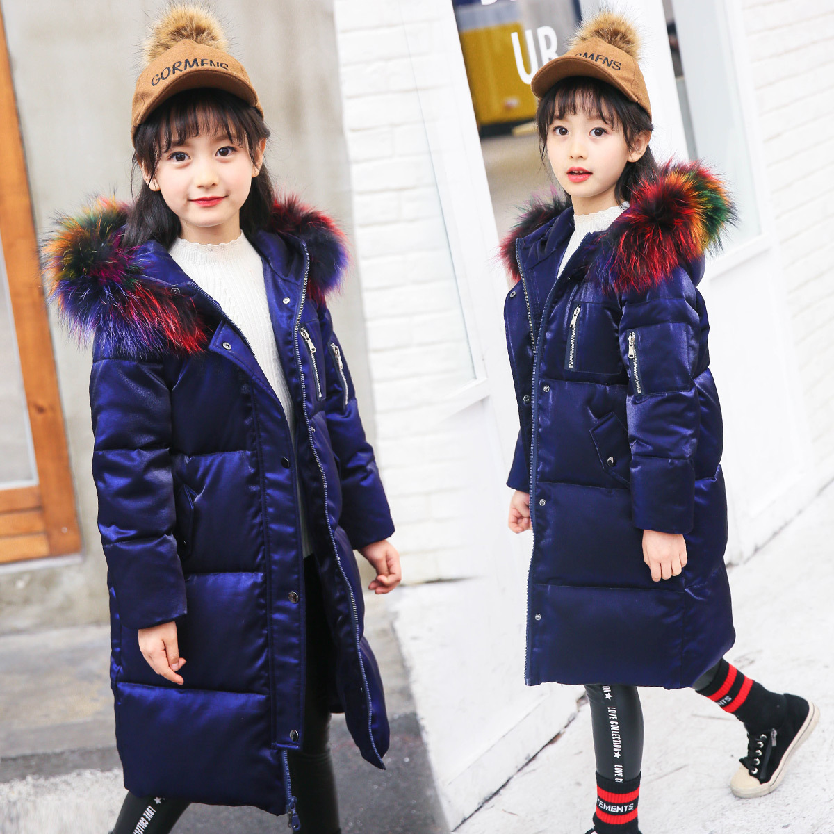 Winter Jacket Teenager Girl Coat Fashion Hooded Colorful Fur Kids 5 7 9 10 11 12 13 14 Years Child Clothes Thick Long Outerwear girl long korean tide thick warm down jacket winter for size 6 7 8 9 10 11 12 13 14 years child new black blue green outerwear