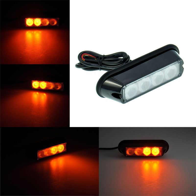 Amber 12V 4 Led Car Flashing Warning Light Lamp Emergency Beacon Light Bar Hazard Strobe Light Waterproof