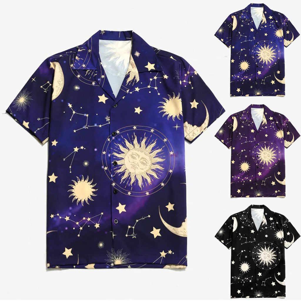 الرجال الصيف أزياء قصيرة الأكمام التلبيب ستار القمر الشمس طباعة قميص عطلة قميص الذكور عارضة camisa الغمد زائد حجم