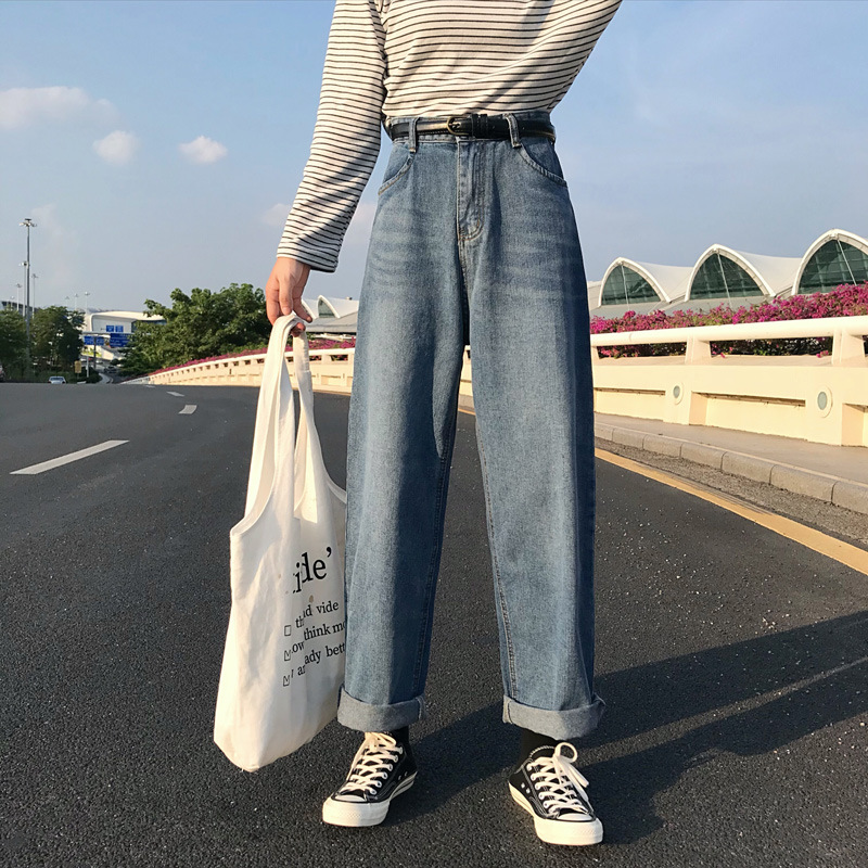 NORMOV 2019 Autumn Winter Women Jeans High Waist Harajuku Korean Pockets Wide Leg Jeans Loose Vintage Gothic Straight Jeans