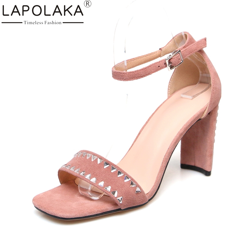 LAPOLAKA New Brand 2018 Kid Suede Leather Crytal Pink Woman Shoes High Heel Women Shoes Party Sexy Summer Sandals lapolaka 2018 brand new horsehair woman elegant wedges high heel women shoes platform black summer sandals women