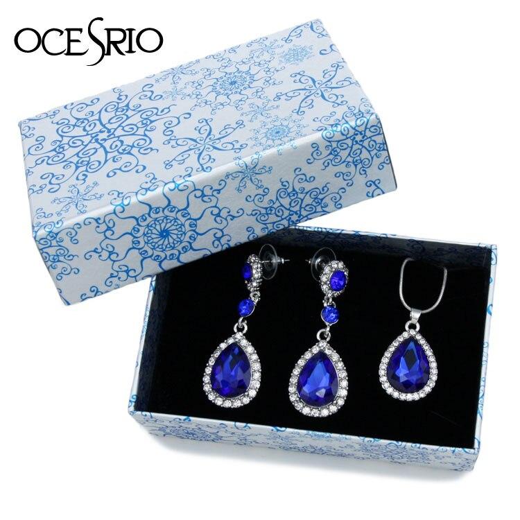 Aliexpress.com : Buy OCESRIO Blue Crystal Jewelry Sets ...