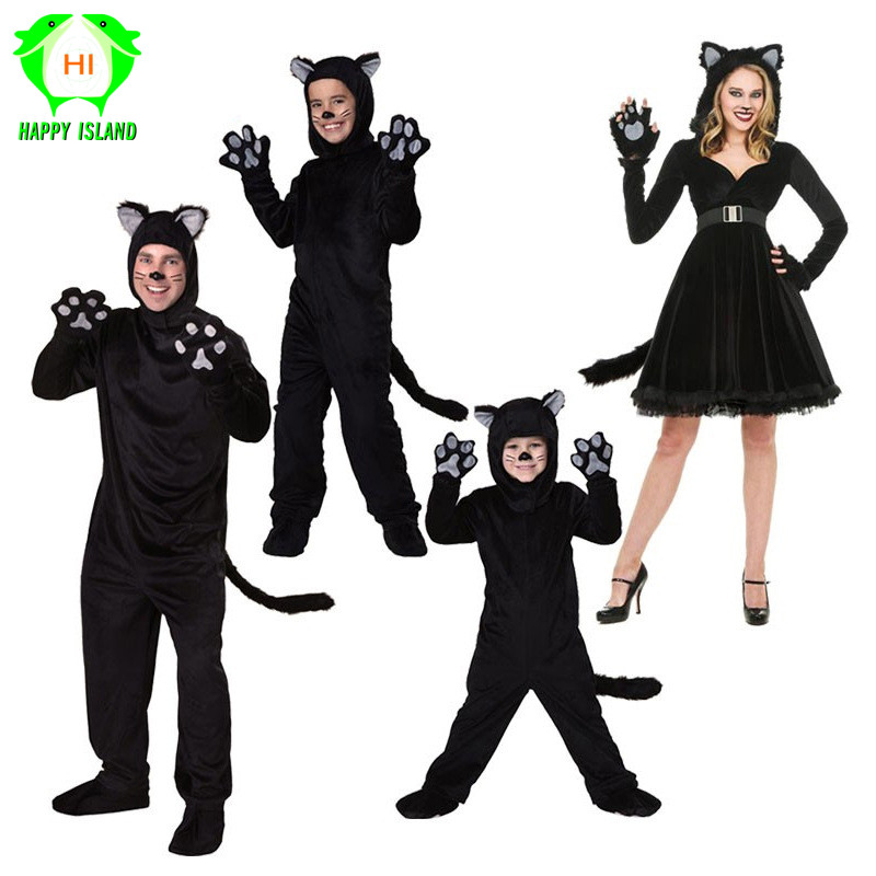 2019 New Halloween Couple Family Adults and Kids Role Playing Black Little Wildcat Couple Costume Stage