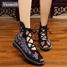 Veowalk tavuskuşu işlemeli kadın Peep Toe gladyatör kanvas sandalet çin el yapımı Lace Up bayanlar yaz kumaş düz ayakkabı