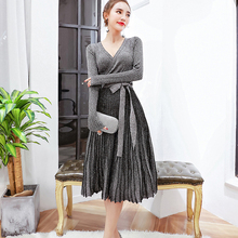 Women Sequins Knitted Sweater Dress 2017 New Brand Fashion Runway Sexy V-Neck Long Sleeve Autumn Winter Dresses Party Vestidos