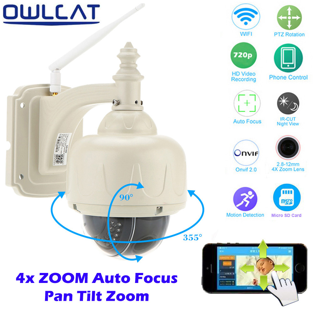 OwlCat Wireless PTZ Dome IP Camera Outdoor 720P HD 4X Zoom CCTV Security Video Network Surveillance IP Camera Wifi 2.8-12mm Lens owlcat wifi ip camera bullet outdoor waterproof onvif wireless network kamara 2mp full hd 1080p 720p security cctv camera