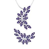 Groothandel Mode Gemaakt Met Echte Crystal Bladeren Ketting Oorbellen Zilveren Sieraden Sets Bruiloft Accessoires