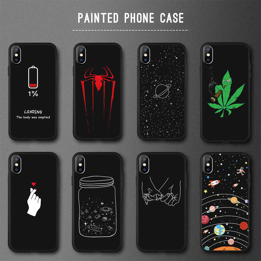 Colorful Universe Plante Painted TPU Case for iPhone 7 6s 6 8 Plus X Silicone Matte Cover for iPhone XR XS Max X Fundas Capa
