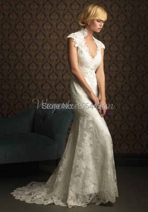 Top 2015 prachtige v kraag kapmouwtjes kant vintage trouwjurk sexy &WH51