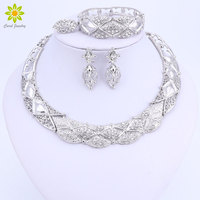 Africa Jewelry Sets Dubai Silver Color Jewelry Sets Fashion Nigerian Wedding African Beads Necklace Earrings Set