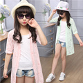 New arrival 2016 fashion korean children spring/summer sun-protective coat for girls Medium style outwear baby clothes
