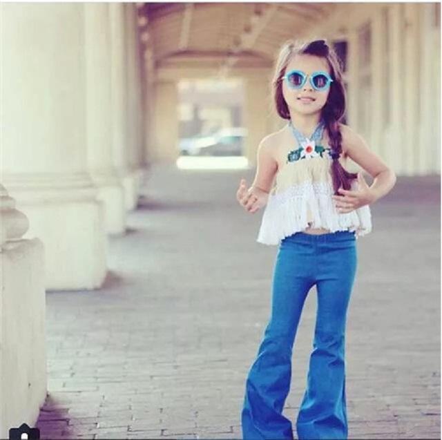Doces Crianças Meninas Calças Jeans de Boot Cut Ruffles Macio Do Vintage Soltas Calças Partido